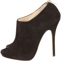 Pre-owned Jimmy Choo Booties (295 CAD) ❤ liked on Polyvore featuring shoes, boots, ankle booties, black, peeptoe booties, black boots, suede booties, black suede boots und black peep toe ankle booties