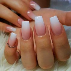 French Tip Acrylic Nails, French Tip Nail Designs, Acrylic Nails Coffin Short, Coffin Shape Nails, Summer Acrylic Nails, Best Acrylic Nails, Ombre French Nails, How To Ombre Nails, Summer Nails
