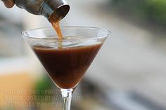 Espresso-Martini  (3 oz of Kahlua Coffee Liqueur  3 oz of vodka  2 oz of creme de cacao  2 oz. of espresso (or very strong brewed coffee)  Pour all the ingredients in a shaker.  Add ice, shake to combine.  Pour into glasses and serve.  Preparation time: 3 minutes)