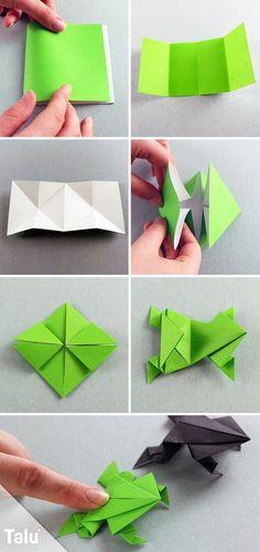Kostenlose Anleitung - Origami Frosch falten - Talu.de #OrigamiLife