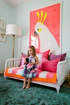 Stunning colorful little girl's room featuring The Land of Nod's Jenny Lind Toddler Bed