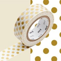 Masking Tape - Deco - Or gros pois - 15 mm x 10 m