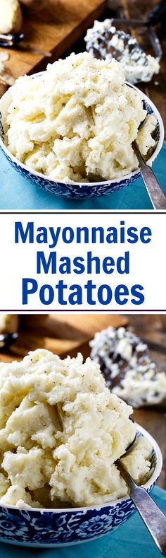 Adding mayonnaise to mashed potatoes makes the creamiest mashed potatoes you can imagine! Mashed Potato Recipes, Creamy Mashed Potatoes, Potato Dishes, Cheese Potatoes, Rice Dishes, Side Dish Recipes, Gourmet Recipes, Cooking Recipes, Dessert Recipes