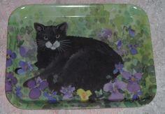 Vtg Melamaster Great Britain Black Cat Tray Amethyst Purple Violets Serving Tray
