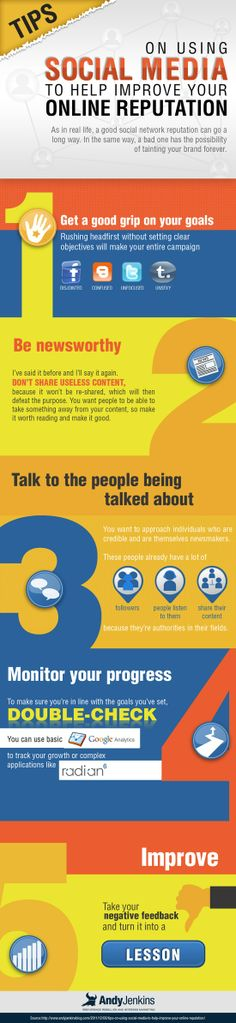 Social Media for Reputation Management 3 Social Media Tips to Help You Improve Your Online Reputation [Infographic] Inbound Marketing, Marketing Digital, Content Marketing, Internet Marketing, Online Marketing, Social Media Marketing, Marketing Strategies, Marketing Ideas, Social Networks