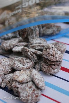 Nutella puppy chow. We used to eat puppy chow in elementary school! Can't wait to try this!