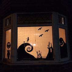 So those who know me will know I have a Halloween obsession with The Nightmare before Christmas. This year I decorated the windows in the style of Tim Burtons awesome Movie.