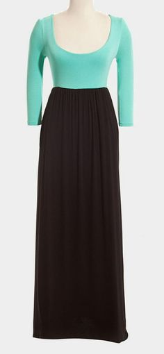 Mint & Black Maxi Dress