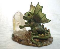 Jasper the baby green dragon - polymer clay sculpture