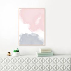 Blush Pink and Grey Abstract Art Watercolour Print Large