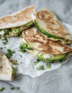 avocado feta hummus taco or panini or quesadilla // vegan or vegetarian lunch Think Food, I Love Food, Food For Thought, Good Food, Yummy Food, Mexican Food Recipes, Vegetarian Recipes, Healthy Recipes, Vegan Meals