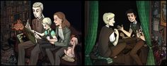 Cursed Child fanart - Draco´s family and Scorpius and Albus Harry Potter Art, Harry Potter Universal, Slytherin, Scorpius And Albus, Very Potter Musical, Welcome To Hogwarts, Cursed Child, Nerd Geek, Draco Malfoy