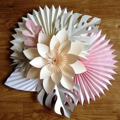 Paper Flower + Tropical Leaves Arrangement - Tropical Wedding Decoration - Foliage Tropical Decor - The Effective Pictures We Offer You About Paper Flowers for kids A quality picture can tell you many Paper Flowers Craft, Large Paper Flowers, Crepe Paper Flowers, Paper Flower Backdrop, Paper Roses, Flower Crafts, Paper Crafts, Diy Paper, Diy Flowers