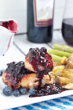Barbecue Chicken with Pinot Blueberry Sauce #SundaySupper from The Girl In The Little Red Kitchen