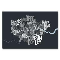 'London Borough Text Map' by Michael Tompsett Graphic Art on Canvas