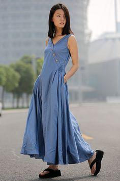 Blue Linen Dress Maxi Casual Lagenlook Summer Dress by YL1dress
