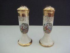 Vintage-4-1-2-Inch-Sabin-Rococo-Crest-o-Gold-22K-Salt-and-Pepper-Shakers