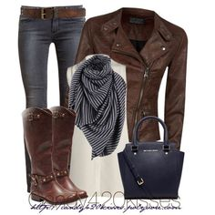My Version: Brown Leather Jacket, White Tank-Top or T-Shirt, Dark Wash Skinney Jeans, Brown Knee High Boots.