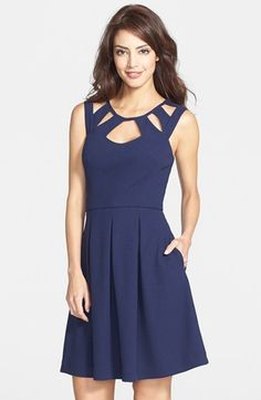 $70, Navy Cutout Skater Dress: Betsey Johnson Cutout Fit Flare Dress. Sold by Nordstrom. Click for more info: http://lookastic.com/women/shop_items/80268/redirect