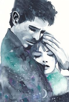 Original Watercolor Painting. Portrait of young couple. Man and woman. Hug, love, romantic, art, illustration, home decor, gift, wall art - #Art #couple #Decor #Gift #Home #Hug #Illustration #jeune #love #man #Original #painting #portrait #romantic #Wall #Watercolor #Woman #young Noragami, Man And Woman Silhouette, Painting Love Couple, Art Amour, Piano Art, Romantic Paintings, Beach Blonde, Devian Art, Art Mural