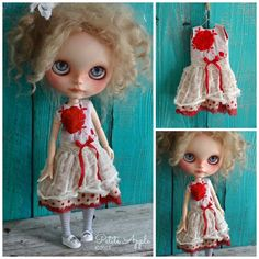 Blythe doll outfit *Très rouge* OOAK vintage embroidered dress