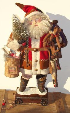 Handmade Santa Claus By Kim Sweet~Kim's Klaus~Antique Crazy Quilt~