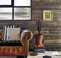wood walls great couch