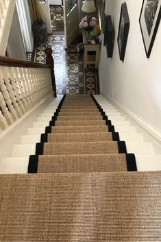 Sisal carpets are versatile and hardwearing and ideal for living rooms, halls and as stair carpet. Entrance Hall Decor, House Entrance, Staircase Carpet Runner, Stairs With Carpet, Striped Carpet Stairs, Patterned Stair Carpet, Sisal Stair Runner, Stair Runners, Hallway Colours