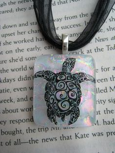 Stunning+fused+glass+TURTLE++pendant+w/+free+cord+by+SilviaEngel,+$24.00