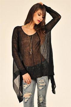 Hipster Sheer Sweater - Black