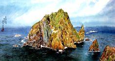 (North Korea) Dokdo island in the East sea by Ji Sun-hi (1956-   ). 지순희.