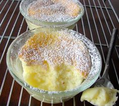 Cathie Cooks Food: Lemon Custard Cakes These are delicious! My Mom used to make it in a pan and my Dad would eat the whole thing if you didn't watch him! Lemon Desserts, Lemon Recipes, Sweet Recipes, Cake Recipes, Dessert Recipes, Lemon Cakes, Bon Dessert, Everyday Food, No Cook Meals