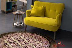 فروش فرش ماشینی گرد طرح بیژن مشکی بنفش، 500 شانه جنس نخ پلی استر قطر یک متر قیمت118 هزار تومان