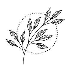Neue Tattoos, All Tattoos, Flower Tattoos, Tattos, Leaf Drawing, Floral Drawing, Simple Flower Drawing, Plant Drawing, Simple Flower Design
