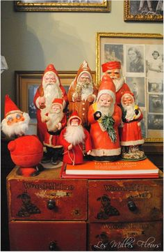Collection of small Santas, some candy containers. Merry Christmas To All, Antique Christmas, Vintage Christmas Ornaments, Green Christmas, Father Christmas, Retro Christmas, Vintage Holiday, Christmas Time, Christmas Classics