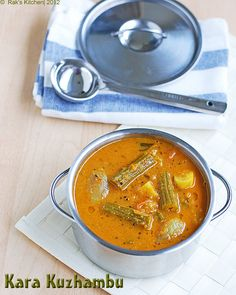 Kara kuzhambu / Kara kulambu recipe with brinjal and drumstick combination, which is said to be the best falvorful combination made for each other! Veg Recipes, Spicy Recipes, Indian Food Recipes, Cooking Recipes, Yummy Recipes, Vegetarian Cooking, Vegetarian Recipes, Kulambu Recipe, Rasam Recipe