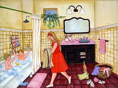 Bath Time by Veronica Labat - GINA Gallery of International Naive Art