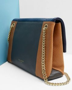 Colour block leather cross body bag - Navy | Bags | Ted Baker UK