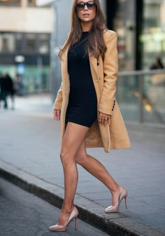 Cream coat short black dress beige heels. Elegant street spring autumn fall women fashion outfit clothing style apparel @roressclothes closet ideas