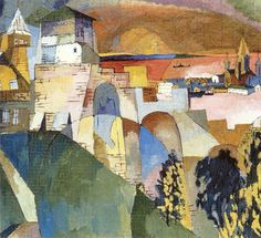 'Nizhny Novgorod', 1925 by Aristarkh Lentulov Russia) Abstract Landscape, Abstract Art, Urban Landscape, Avant Garde Artists, Soviet Art, Post Impressionism, Art Database, Art Paintings, Fashion Illustrations