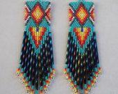 Native American Style Beaded Diamond Rug Earrings Turquoise Red, Orange, Yellow, Peacock, Silver, Southwestern, Boho Ready to Ship