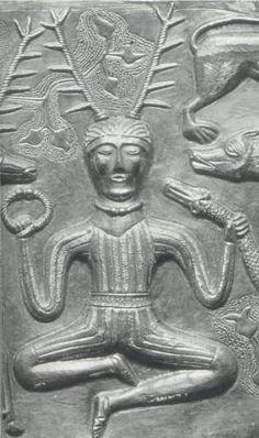 Celtic god Cernunnos. From 2nd or 1st Century BC Gundestrup Caldron, found in a Danish bog