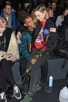 NEW YORK, NY - FEBRUARY 14: Sarah Snyder (R) and actor Jaden Smith attend the Hood By Air Fall 2016 fashion show during New York Fashion Week: The Shows at The Arc, Skylight at Moynihan Station on February 14, 2016 in New York City. (Photo by Nicholas Hunt/Getty Images for NYFW: The Shows)