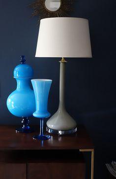 Mid-century Italian glass vases and lamps in stock at www.deedee914.com Cased italian Empoli glass.