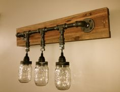 Furniture, Inspiring 3 Hanging Jars Light Vanity Fixture Design With Wall Mounted Fixture Holder For Your Bathroom Furniture Decor Ideas: How To Install Vanity Light Fixture