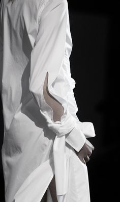 Long white shirt with elongated placket; chic fashion details // 3.1 Phillip Lim Spring 2016