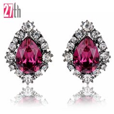 Opal Stone Jewelry 2016 Newest Crystal Stud Earrings for Woman Christmas Party Earrings Factory Wholesale Fast Shipping 10Colors