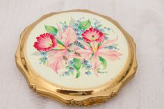 Vintage KIGU Floral Cover Gold Tone Compact by GoGoGrannys on Etsy, $35.00