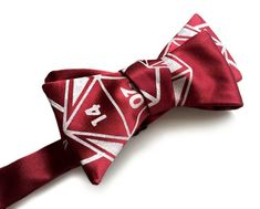 """d20 dice bow tie. Dungeons & Dragons inspired rpg gift, burgundy red and more. """"20 Sided Tie,"""" silks"""