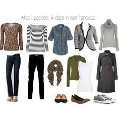 what i packed: 4 days in san francisco, created by cardiganjunkie.polyvore.com.  Loving the grey Chucks.